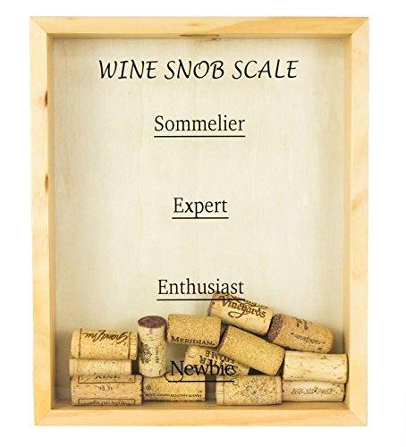 Wooden, Wall-Mounted Wine Cork Holder - Wine Snob Scale in Black Text (Wine Frame Holder Cork)