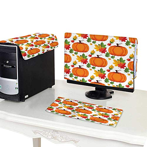 Miki Da Computer dust Cover 19'' Monitor Set Halloween Seamless Pattern Background with Pumpkin 3
