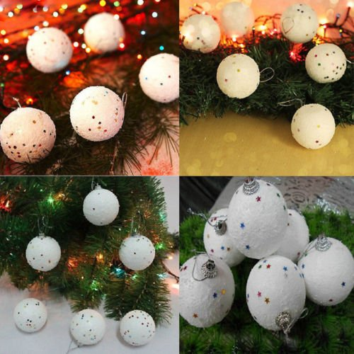 ANGELS--12PCS 4CM Christmas Snowball Balls Xmas Tree Hanging Decoration Party Ornaments