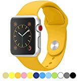 Icesnail Apple Watch Band 38mm 42mm [3 Pieces 2 Length] Soft Silicone Sport Replacement Strap for Apple Watch Series 3 Series 2 Series 1 Sport and Edition All Models, 42mm Yellow