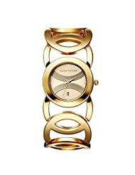 JYY Women Lady Brand Luxury Crystal Fashion Dress Bracelet Shock Waterproof Wrist Watch (Gold)