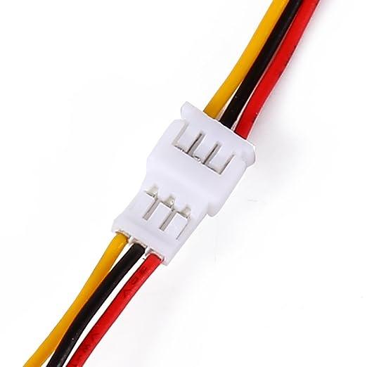 Dilwe 20 Pares JST 1.25mm Enchufe de 3 Pines Conector Macho Hembra Cables Micro Cable El/éctrico 100mm