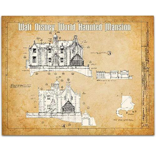 Walt Disney World Haunted Mansion Blueprint - 11x14 Unframed Blueprint - Great Gift Under $15 for Disney Fans ()