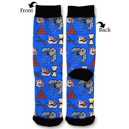 Three Little Pigs And Big Bad Wolf Men Women's Casual Cotton Crazy Crew Socks Athletic Long Stocking ()