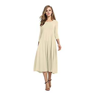 71252a2ecf1 Robe Evasee Mi Longue Femme Retro Vintage Tunique Manche 3 4 Col Rond  Boheme Chic