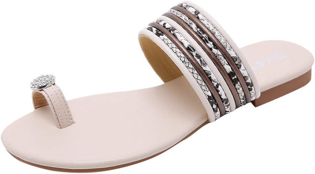 Womens Flat Slipper Crystal Bohemian Open Toe Slide Sandals Ladies Girls Summer Casual Beach Clip Toe Flip-Flops