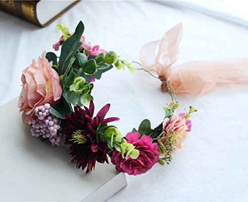 Vivivalue Christmas Boho Handmade Flower Wreath Headband Crown Halo Floral Hair Garland Headpiece with Ribbon Festival Wedding Pink