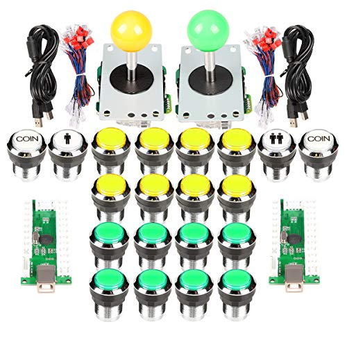 EG STARTS Arcade Joystick 2 Player 5Pin USB Joystick + 19x Chrome Plated Arcade Buttons Compatible MAME PC Game Street Fighter & Tekken 7 & Raspberry pi 3