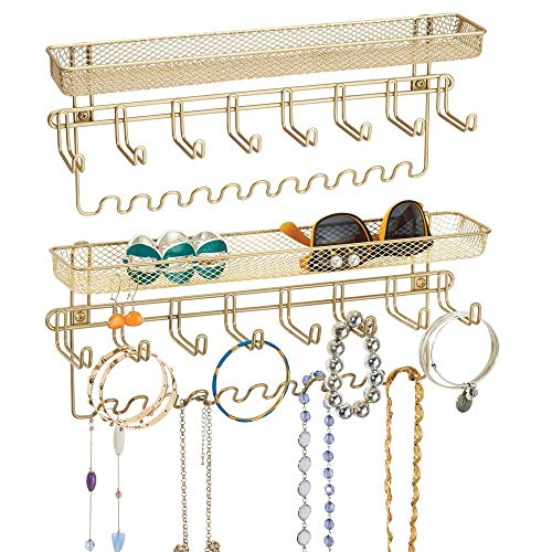 mDesign Decorative Metal Closet Wall Mount Jewelry Accessory Organizer for Storage of Necklaces, Bracelets, Rings, Earrings, Sunglasses, Wallets - 8 Large/11 Small Hooks, 1 Basket, 2 Pack - Gold Brass