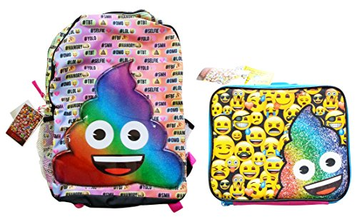 NEW Rainbow Poo Emoji Backpack & Lunch Box! Back to School Set!