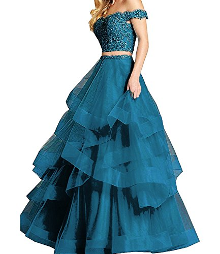 8e4f3210f25 ... Women s Ruffle Tulle Beads Lace Prom Quinceanera Dress Two Pieces Party Ball  Gown Teal 6.   