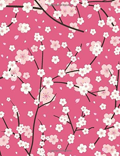 Low Vision Notebook: Blank journal with bold lined paper for visually impaired, elderly, or young children- Cherry blossom floral cover