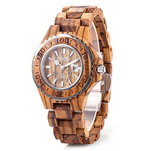 Bewell ZS-100BL Women Wooden Quartz Watch with Luminous Hands 30M Water Resistance Date Wristwatches (FBA)