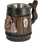 Cheap Wooden Beer Mug Men. Craft IPA Beer Drinking Cup. Half Pint Wood Mini Stein. Viking Ale Mead Dad Tankard Handle. Funny Fathers Day Tumbler, Birthday Anniversary Gifts. Cute Man Cave Decor Accessories