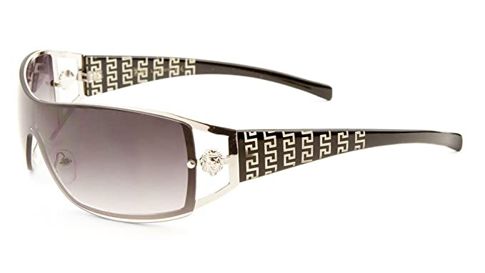 916d61da08 Kleo Lion Head Medallion Greek Key Wrap Around One Piece Sunglasses (Black    Silver