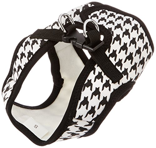 Parisian Pet Step-in Dog Harness, Small, Black Houndstooth