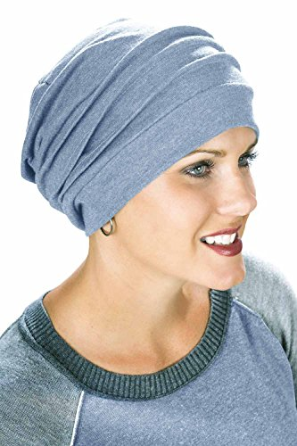 100% Cotton Slouchy Snood | Slouchy Beanie Hat | Cancer Hats for Chemo Steel Blue