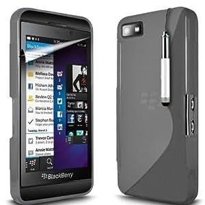 Línea Premium Quality Gel Grip Wave S Diseñado para agarre y mayor protección para su Blackberry 10 / Z10 Alfa Dev. B & Stylus retráctil Gratis para precisión adicional manteniendo su mancha de pantalla gratuito con acabado de alta calidad