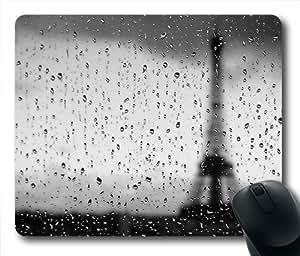 Oblong Shaped Rain Background Mouse Mat