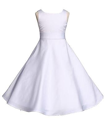 98bdeb73d48 Wedding Pageant White A-Line Matte Satin Jr. Bridesmaid Flower Girl Dress