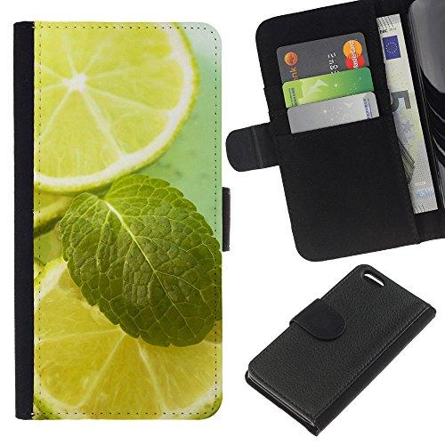 Lead-Star (Fruit Macro Lime & Mint) Colorful Impression Holster Cuir Wallet Cover Housse Peau Cas Case Coque Pour Apple iPhone 5C