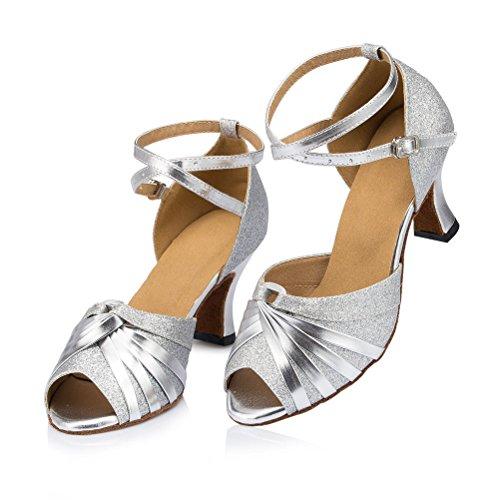 misu - Zapatillas de danza para mujer Plateado plata plata