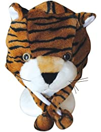 Plush Faux Fur Animal Critter Hat Cap - Soft Warm Winter Headwear - Short with Ear Poms and Flaps & Long with Scarf and Mittens available (Tiger - Short)
