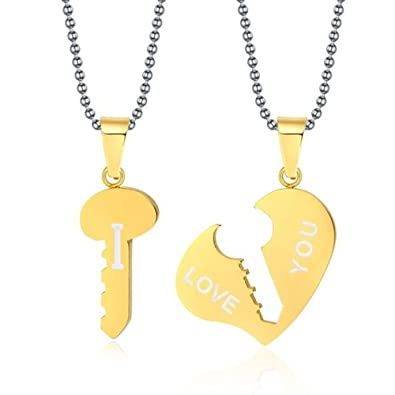 f08e4de93f Image Unavailable. Image not available for. Color: 1 Pair Stainless Steel  Love Key to Heart Matched Set Pendant ...