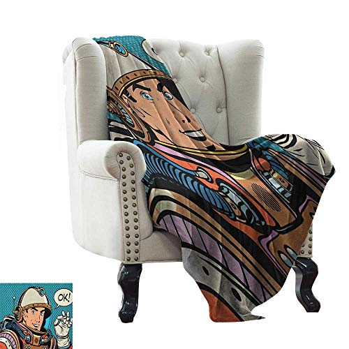 LsWOW White Throw Blanket Astronaut,Middle Aged Sapce Man Gesturing and Saying OK Speech Bubble Space Themed Catroon, Multicolor Lightweight Microfiber,All Season for Couch or Bed 60