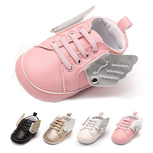 Pink First Walkers (Antheron Baby Sneakers - Infant Boys Girls Non-Slip Soft soled Toddler First Walkers Angel Wing Crib Shoes (Pink,12-18 Month))