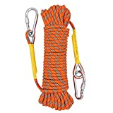 X XBEN Outdoor Climbing Rope 10M(32ft) 20M(64ft) 30M (96ft) 50M(160ft) Rock Climbing Rope, Escape Rope Ice Climbing Equipment Fire Rescue Parachute Rope (32 Foot) - Orange