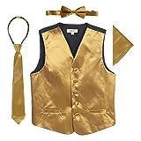 Gioberti Boys 4pc Satin Formal Vest Set, Gold, 8