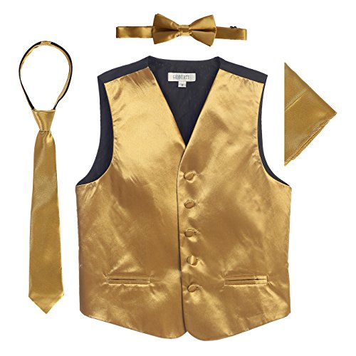 - Gioberti Boys 4pc Satin Formal Vest Set, Gold, 8