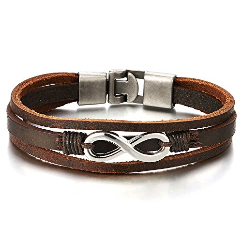 COOLSTEELANDBEYOND Infinity Love Number 8 Interwoven Brown Genuine Leather Bracelet for Men and Women ()
