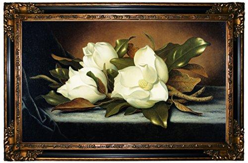 Historic Art Gallery Giant Magnolias by Martin Johnson Heade Framed Canvas Print - Gold & Black Gallery - (Martin Johnson Heade Magnolia)