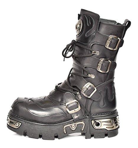 Echtes Leder Retro Stiefel Neueste New Rock Design Schwarz Flamme Gotisch Schnürstiefel - A1107S3