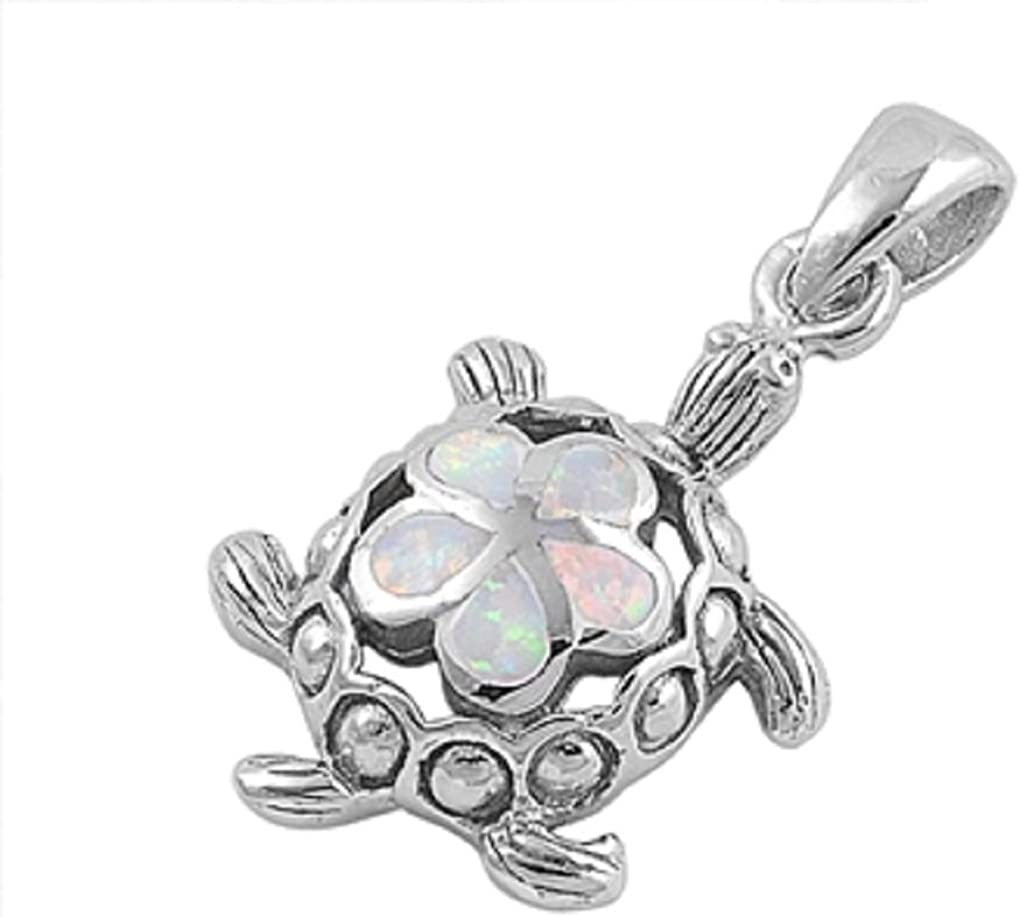 CloseoutWarehouse Simulated Opal Sea Turtle Flower Pendant Sterling Silver
