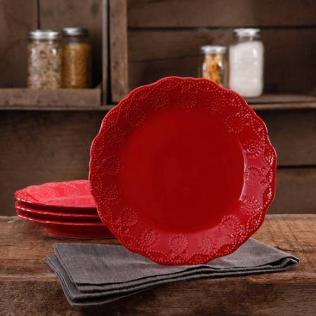 The Pioneer Woman Cowgirl Lace Transparent Glaze 4-Pack Dessert Plates (Red)