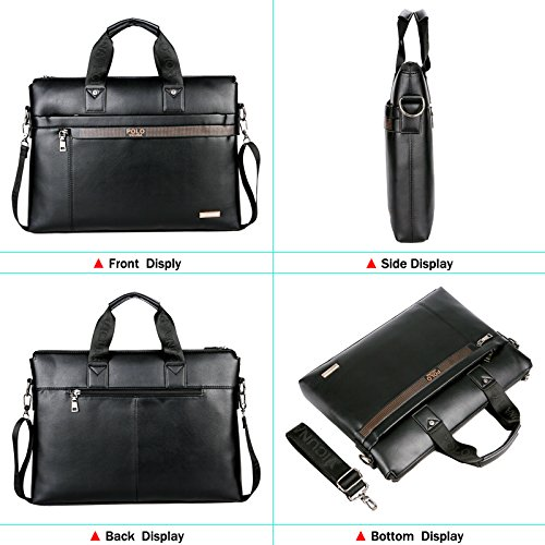 VICUNA POLO Men Briefcase Bag Business Bag Leather Laptop Bag Man Bag Handbag (black for 15.6inch) by VICUNA POLO (Image #3)