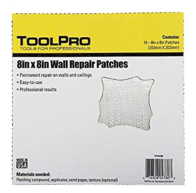 """ToolPro 8 x 8"""" Wall Repair Patches, 10 pack"""