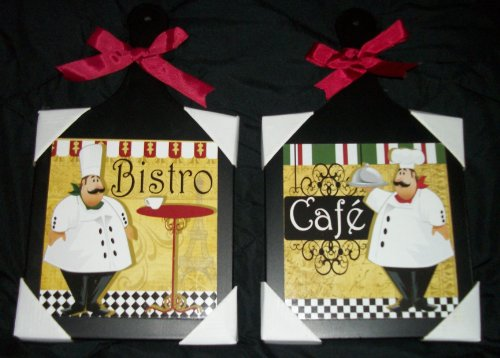2 Hanging Bistro Fat Chef Cutting Boards (Fat Bistro Chef Dishes compare prices)