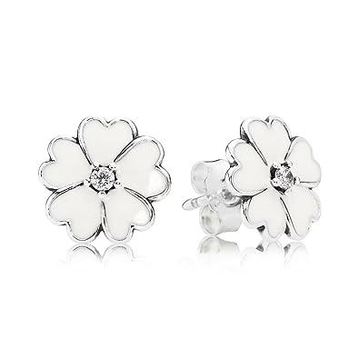Bamoer plata de ley 925/Darling Daisy Stud Pendientes con esmalte blanco brillante CZ
