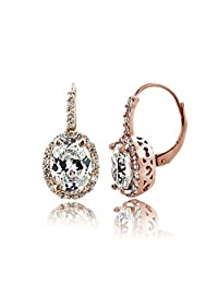 Rose Gold Tone 4ct CZ Oval Halo Leverback Earrings