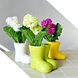 Better-way Boot Shaped Vase Ceramic Plant Pot Windowsill Planter Decoration Orchid Flower Container Gift For Housewarming (6 Pack Green)