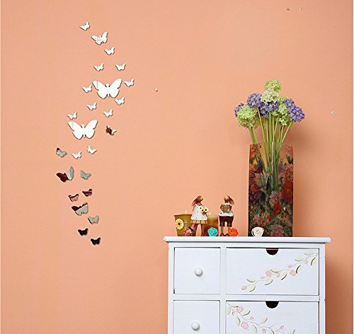 Modern Fashional 3d DIY Butterfly And Flower Art Silver Acrylic Mirror Wall Sticker Home Decor For Living Room Bedroom