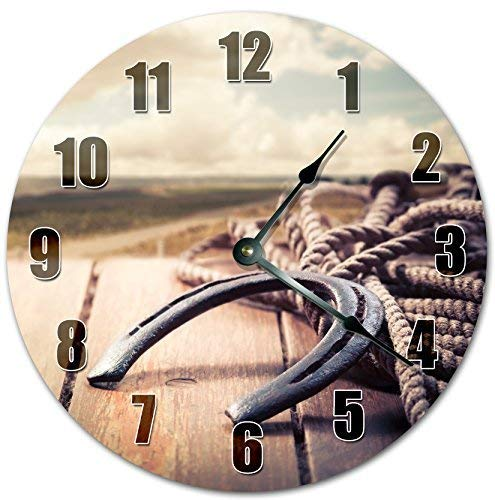 hiusan Modern Horse Shoe Ropes Wood Wall Clocks Decorative Silent Non Ticking 12 inch Living Room Kids Rooms Bedrooms Gifts Idea ()