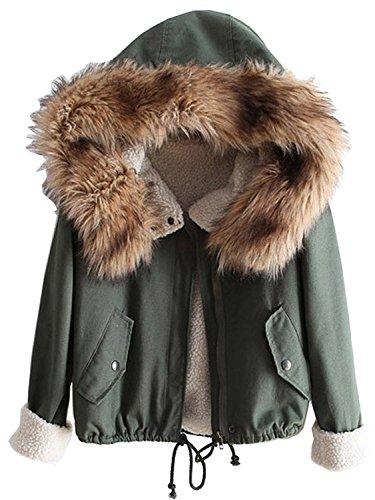 Cystyle Damen Mädchen Pelz Kapuze Parka Jacke Tasche Mantel (Armee Grün)