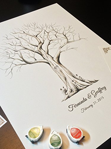 Fingerprint Tree custom wedding guestbook - Original thumbprint guest book alternative (Large Size Monochrome) includes 3 ink pads!! by LunsfordPencilArt