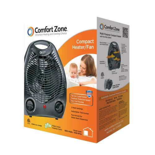Black Comfort Zone CZ40BK 1500 Watt Portable Heater with Thermostat