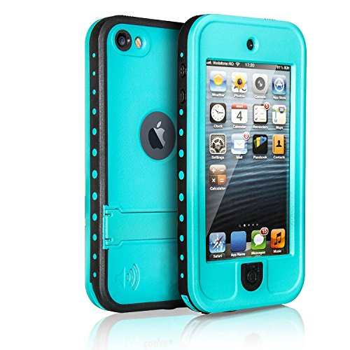 Waterproof Case for iPod 5 iPod 6, Merit Waterproof Shockproof Dirtproof Snowproof Case Cover with Kickstand for Apple iPod Touch 5th/6th Generation (Blue)